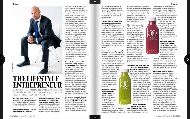 The Lifestyle Entrepreneur – Jerusalem Post / Style Magazine